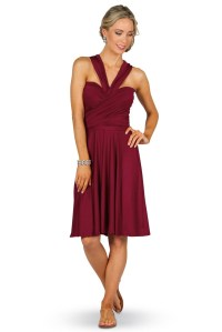 Convertible Bridesmaid Dress Midi - Burgundy - Bridesmaids etc