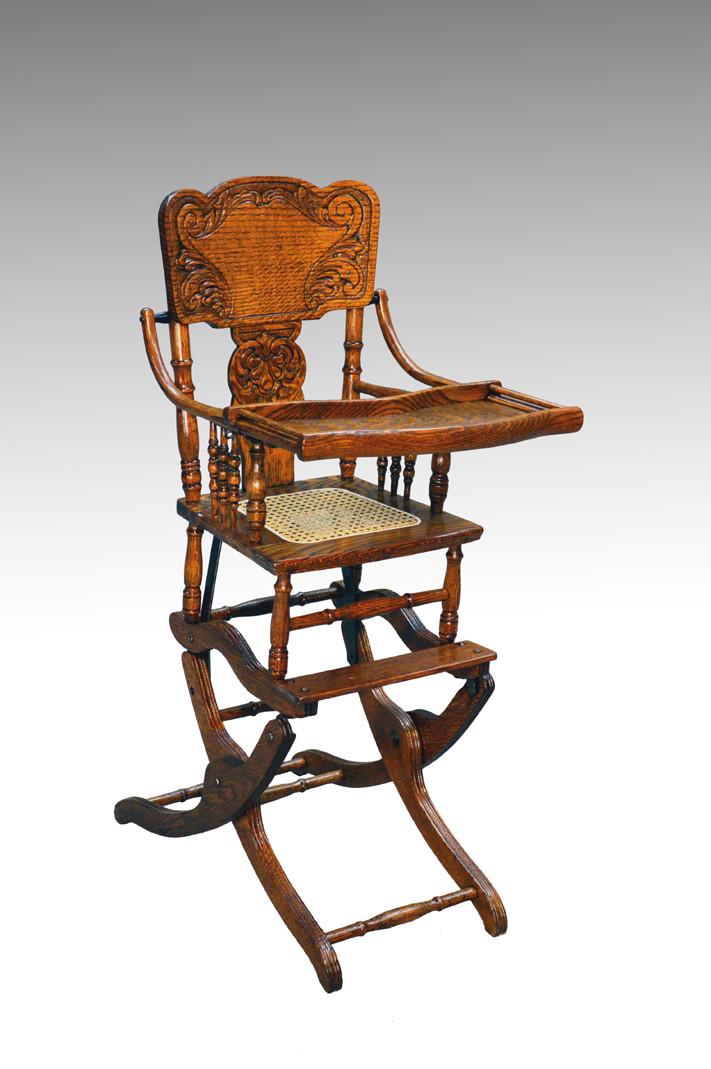 16176 Antique Victorian Oak Press Back Rocker Collapsible