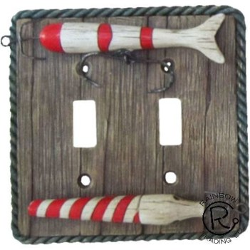 Fishing Lure Double Switchplate Cover