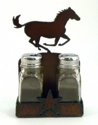 Rustic Deer Salt and Pepper Shakers with Holder