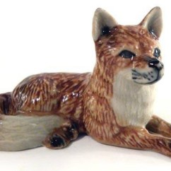 Kitchen Clocks Wine Theme Quality Brand Cabinets Red Fox Lying Down Porcelain Figurine