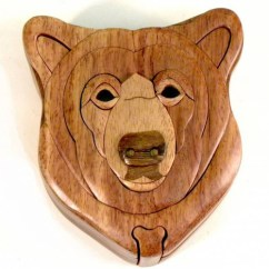 Kitchen Clocks Wine Theme Yellow Pine Cabinets Bear Head Wooden Puzzle Box