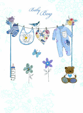 Baby Boy Clothes Line Greeting Card Baby Shower Host