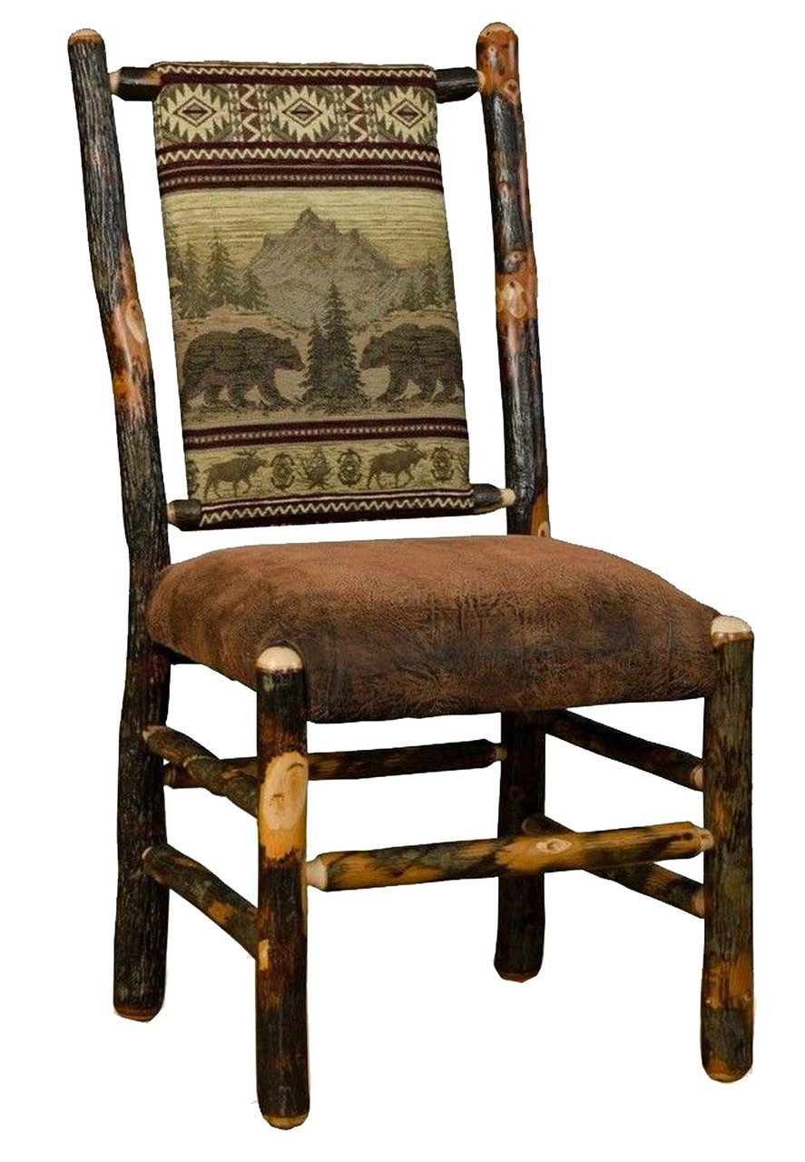 Rustic Hickory Upholstered Dining Chair  Bear Mountain