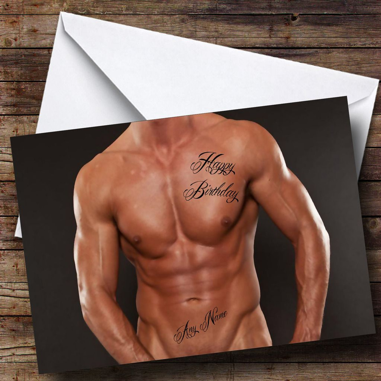 Sexy Mans Body Tattoo Personalised Birthday Card The