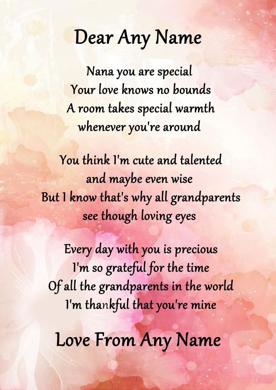 Pink Floral Nana You Are Special Personalised Poem