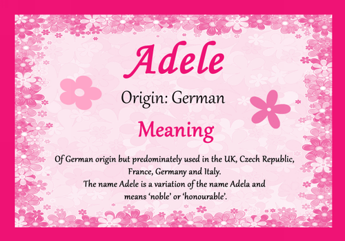 Adele Personalised Name Meaning Mousemat - The Card Zoo