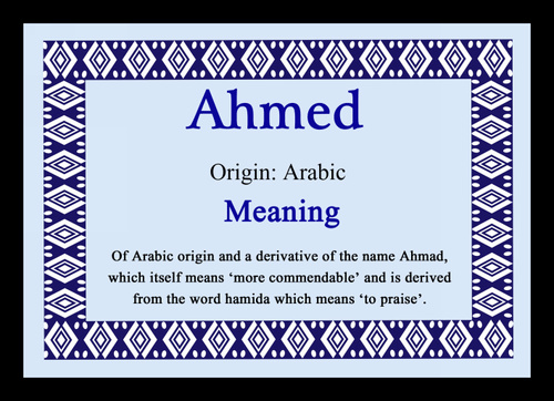 Ahmed Personalised Name Meaning Placemat - The Card Zoo