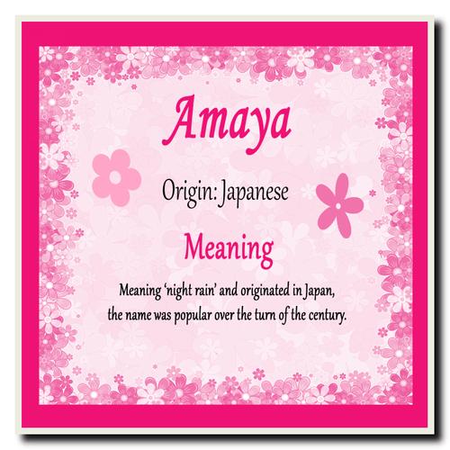 Amaya Personalised Name Meaning Coaster The Card Zoo