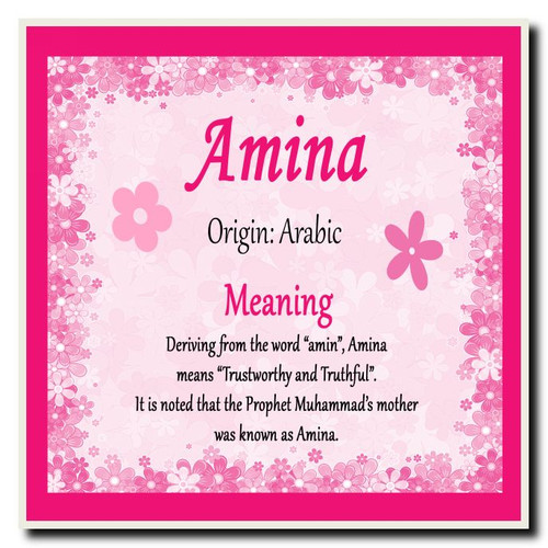 Amina Personalised Name Meaning Coaster  The Card Zoo