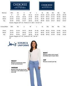Cherokee size charts also workwear scrubs originals unisex drawstring cargo rh jensscrubs