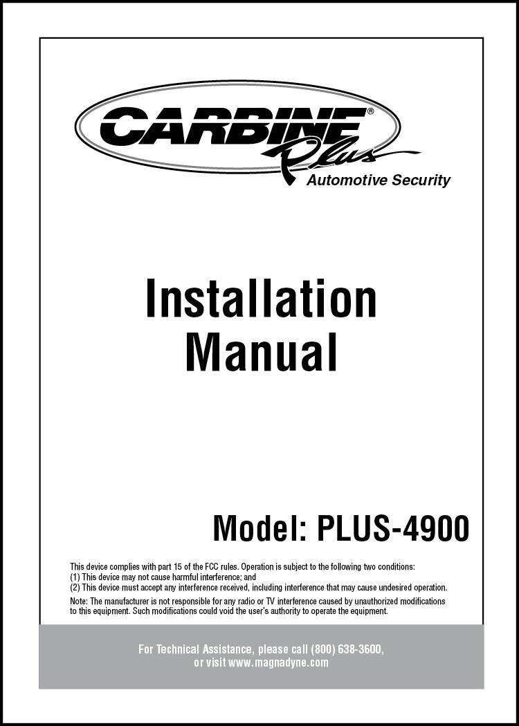 hight resolution of carbine plus 4900 installation manual automate car alarm wiring diagram carbine car alarm wiring diagram