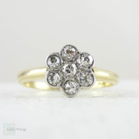 Diamond Daisy Engagement Ring, Floral Shape Antique ...