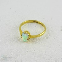 Antique Opal Single Stone Ring in 18 Carat Yellow Gold ...