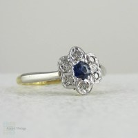 Sapphire & Diamond Daisy Engagement Ring, Vintage Diamond ...