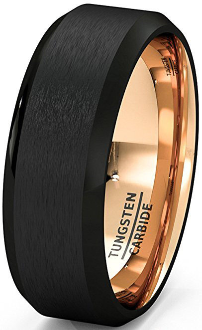 8mm Unisex Or Men S Tungsten Wedding Band Black Matte Finish Tungsten Carbide Ring With