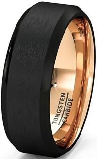 8mm - Unisex or Men's Tungsten Wedding Band. Black Matte ...