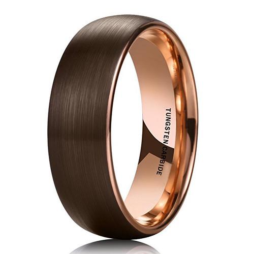 8mm Unisex Or Mens Tungsten Wedding Band Brown Matte
