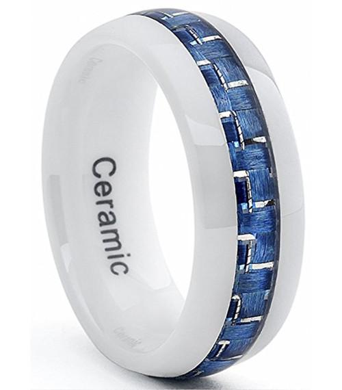 8mm Unisex Or Mens Ceramic Wedding Band White Ring