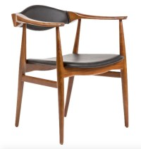 Aline Leather Danish Mid Century Dining Arm Chair