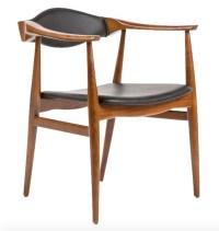 Aline Leather Danish Mid Century Dining Arm Chair   Danish ...