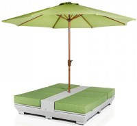 Daytona Green Lounge Chairs With Umbrella | Outdoor Patio ...