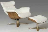 Luxur Leather Reclining Lounge Chair and Ottoman | Mid ...