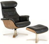Luxur Leather Reclining Lounge Chair and Ottoman   Mid ...