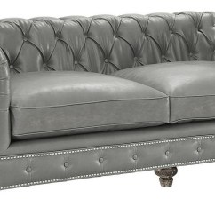 Home Theater Leather Sofa How Much To Recover A Uk Chesterfield Rustic Grey - Classic Tufted ...