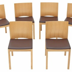 Light Oak Dining Chairs Fishing Chair System Set Of 6 Modern Designer Dark Brown Leather