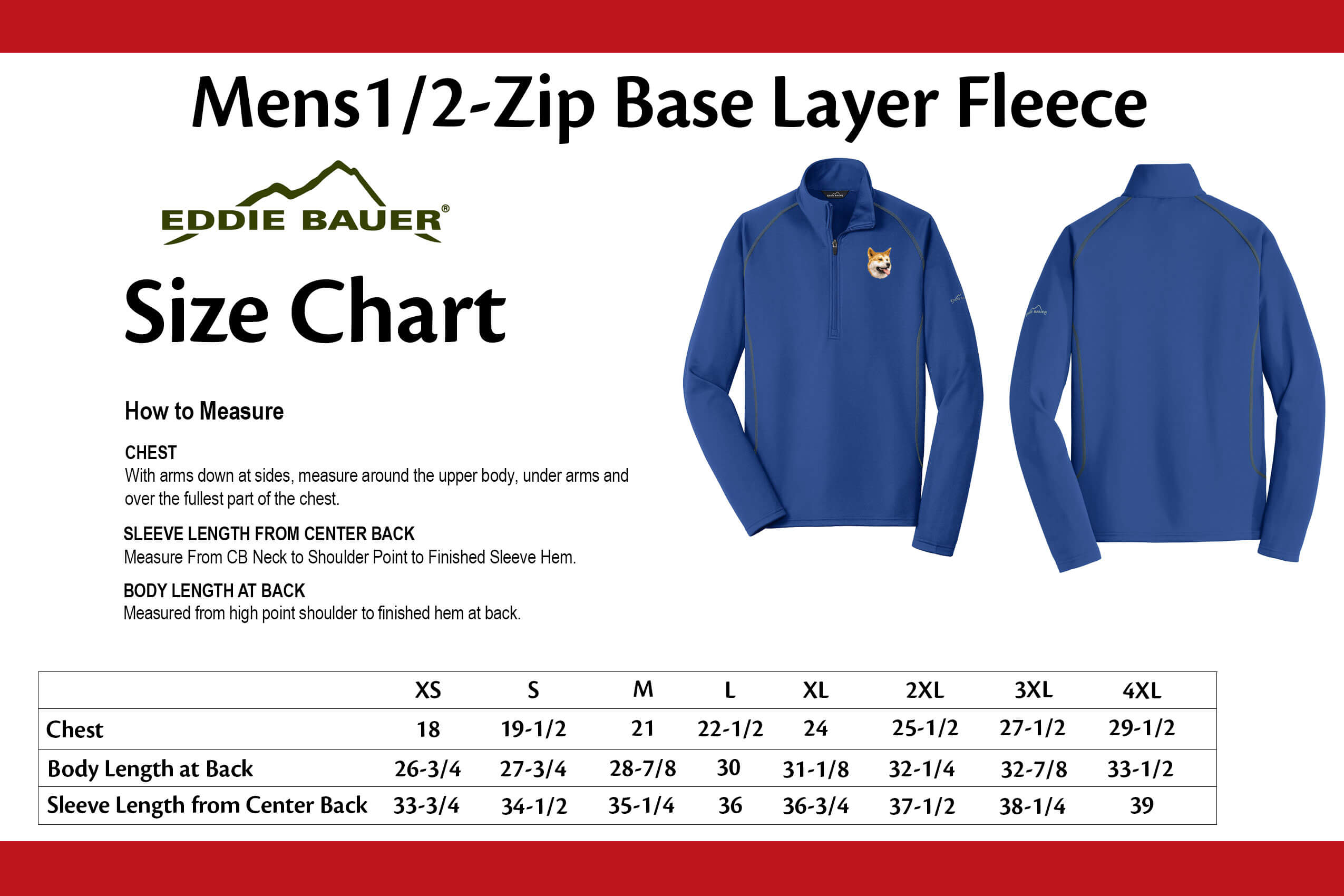 View the sizing guide also birddawg embroidered eddie bauer mens base layer fleece rh cherrybrook