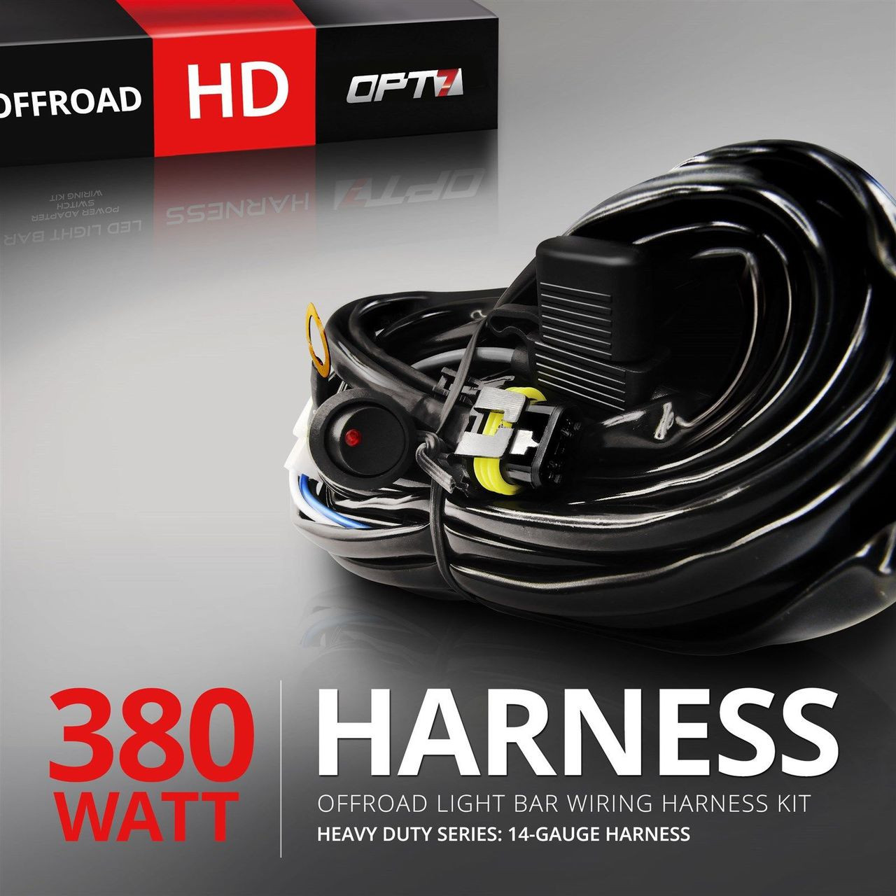 hd led light bar wiring harness off road relay switch 40 amp 380w opt7 [ 1280 x 1280 Pixel ]