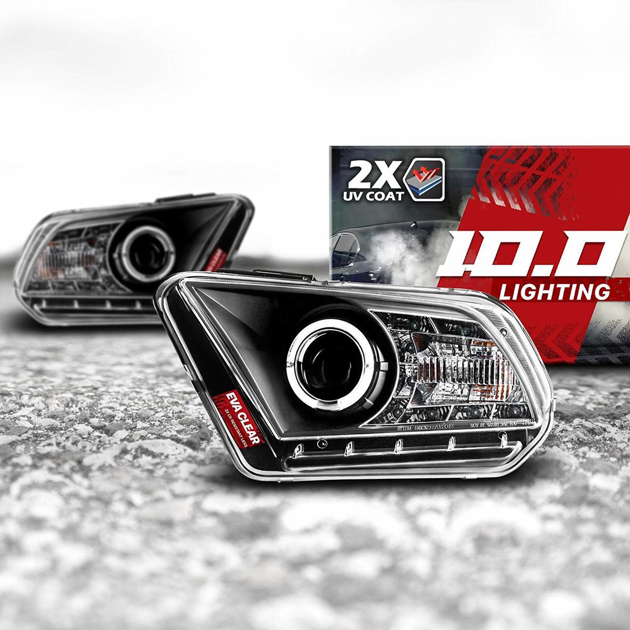 hight resolution of 10 0 2010 2014 ford mustang projector headlight assembly with drl halo leds opt7