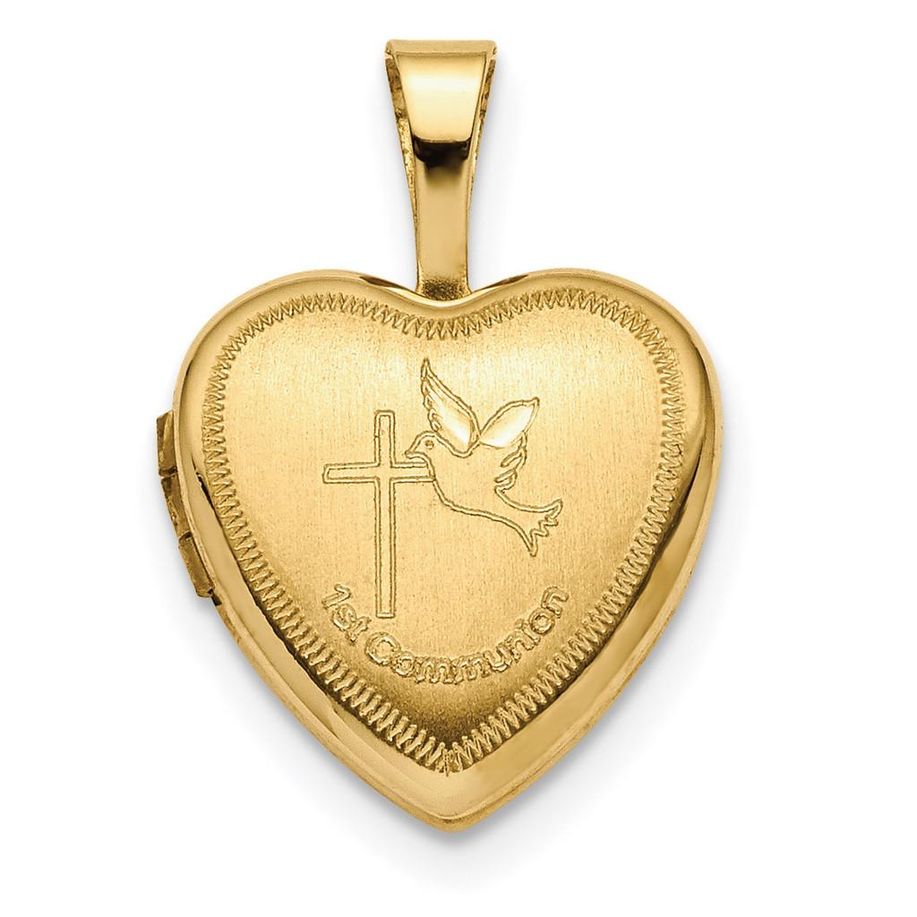12mm 1st Communion Heart Locket 14k Gold Xl710 - Homebello