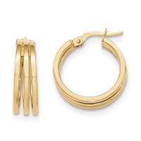 Post Hoop Earrings 14k Gold Polished TF565 - HomeBello