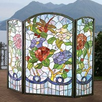 Tiffany Stained Glass Fireplace Screen - Magnolia Hall