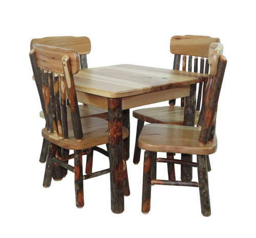 Kid's Rustic Hickory Table and 4 Chairs Set