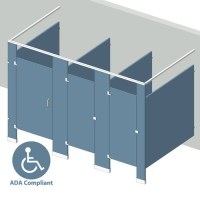 Bathroom Partitions - 3 Stalls Free Standing Left Hand | ADA