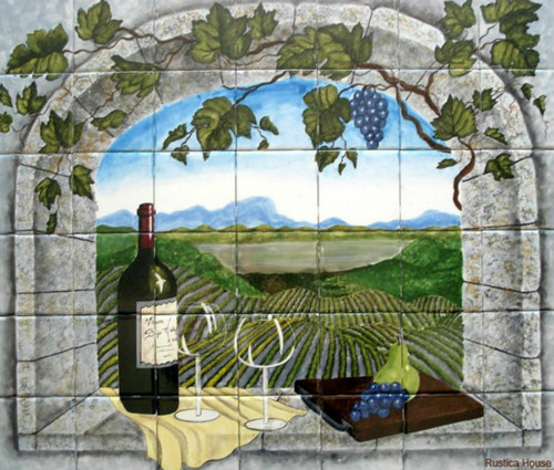 mexican backsplash tiles kitchen prefab island tile mural vineyard view