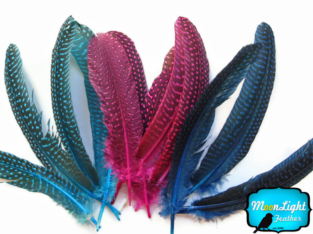 10 Pieces Royal Blue Guinea Fowl Wing Quills Moonlight