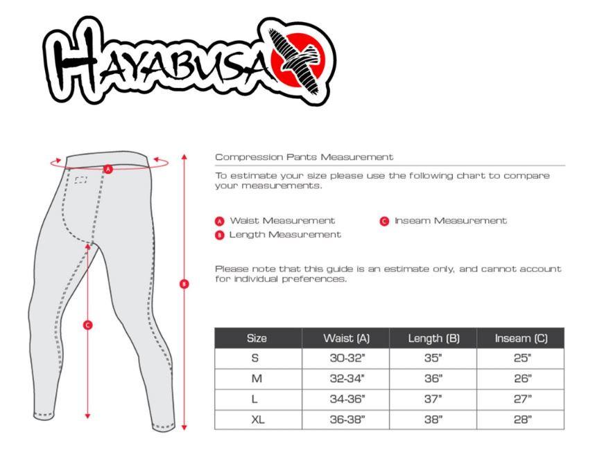 Sizing chart of the hayabusa metaru silver compression pants available now at also red black jiu rh thejiujitsushop