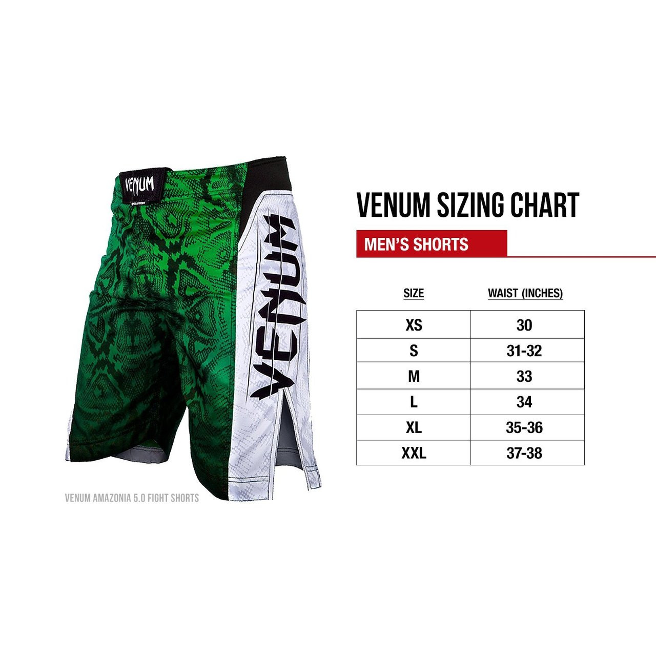 Sizing chart of the venum amazonia fight shorts available in red from jiu jitsu also shop rh thejiujitsushop