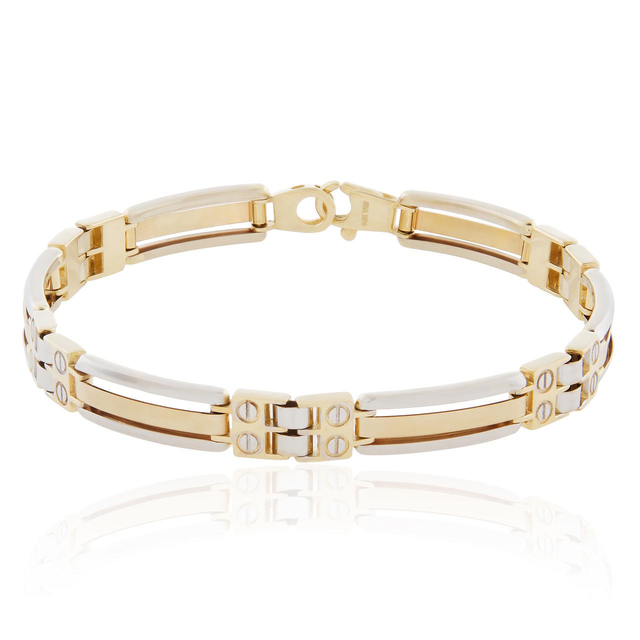 14k Twotone Solid Gold Bracelet  Shyne Jewelers