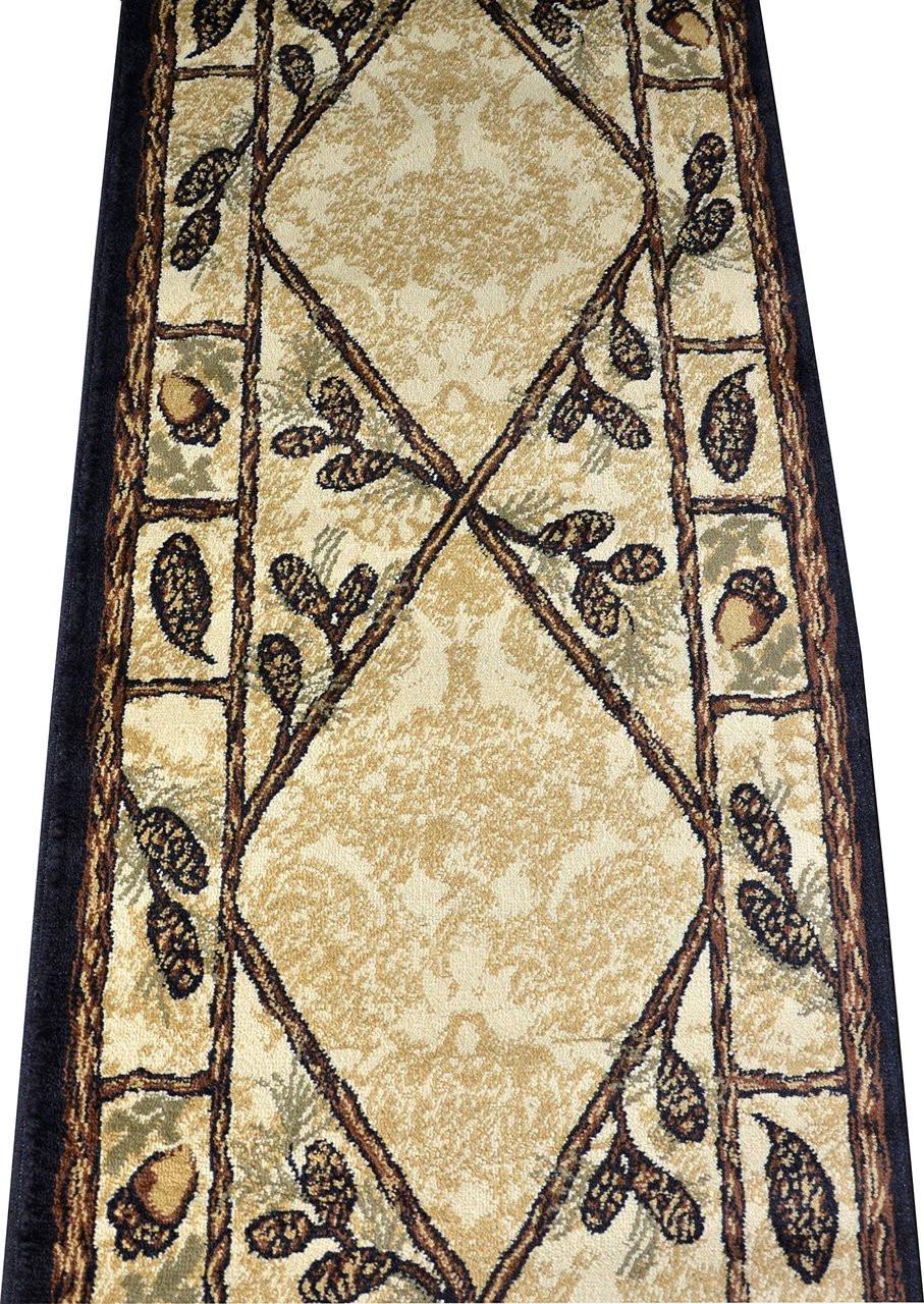 washable kitchen rugs non skid design software free dean brasstown bald lodge cabin ranch pine cone area rug 2 ...