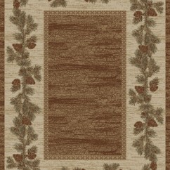 Non Skid Kitchen Rugs Cabinet Franchise Dean Mountain View Rustic Pine Cone Lodge Cabin Ranch Area ...