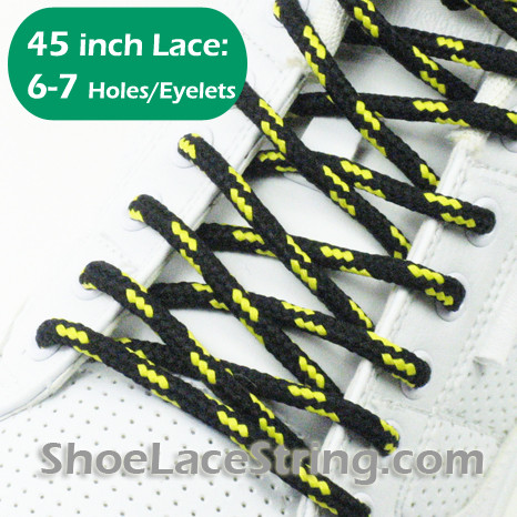 Black and Yellow Round 45INCH ShoeLaces Round Shoe Strings