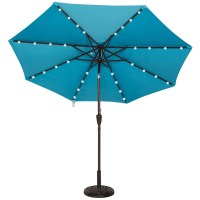 Solar Powered 32 LED Lighted Outdoor Patio Umbrella with ...