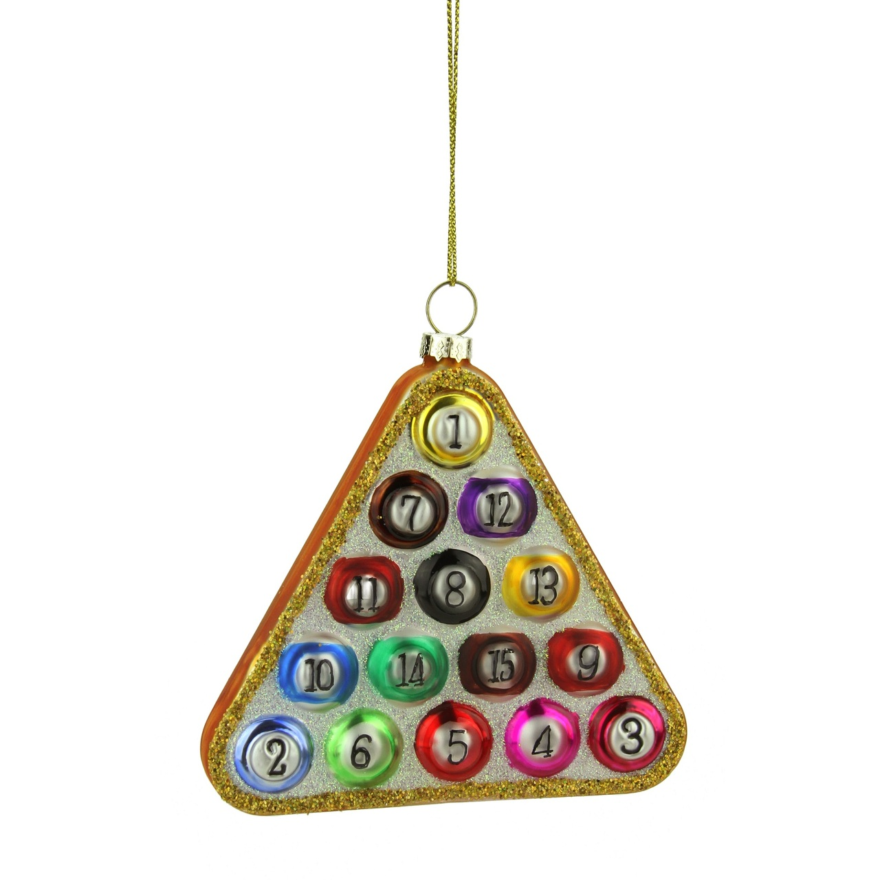 "4"" Glass Pool Ball In Triangle Billiard Rack Christmas"