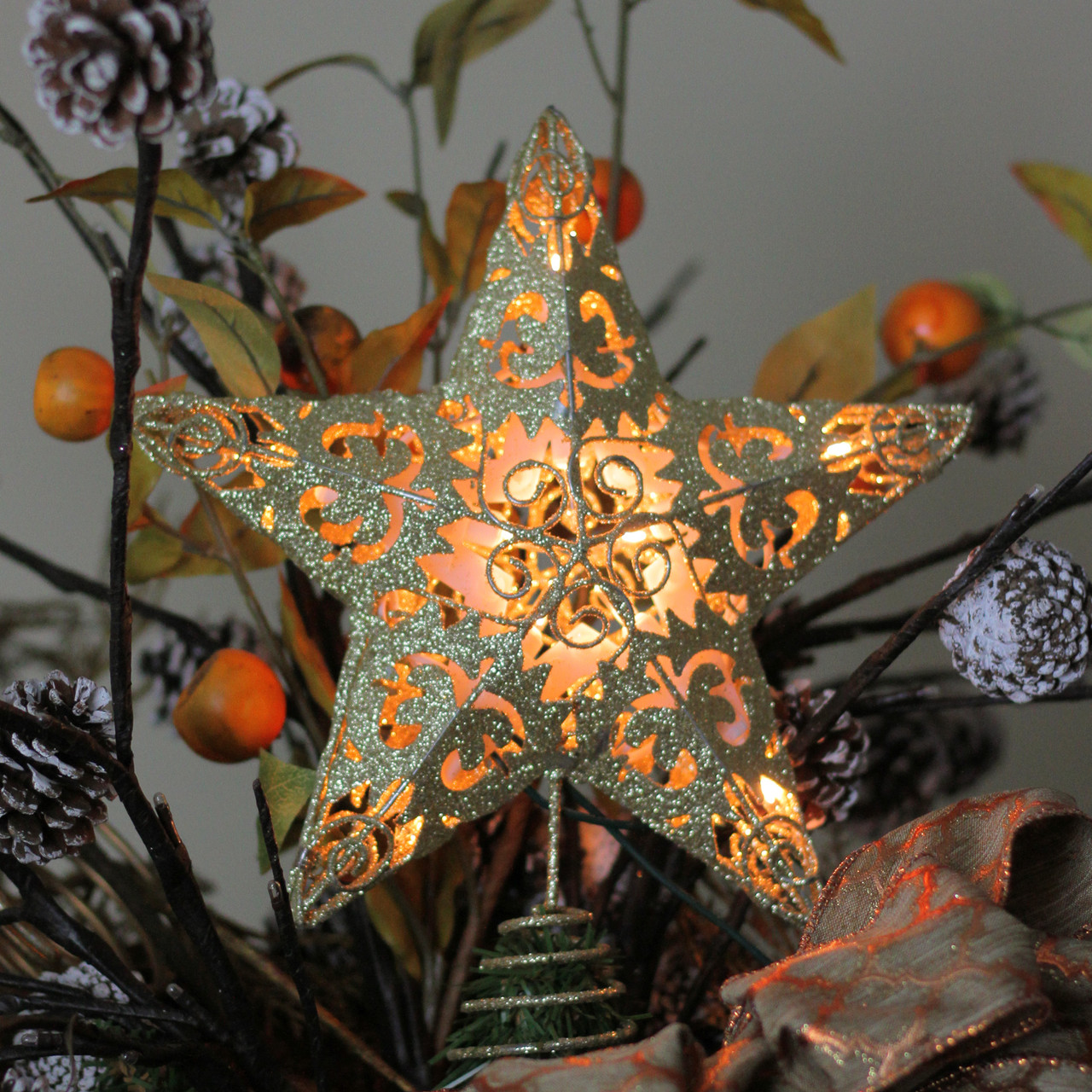 11 Lighted Gold Swirl Christmas Star Tree Topper Clear