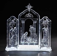 """10"""" Icy Crystal LED Lighted Religious Christmas Nativity ..."""